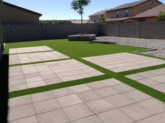 Concrete, Turf, and Planter
