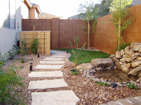 Unique pathways and waterfeatures