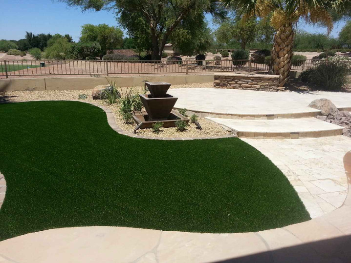 Travertine Raised Patio and Turf