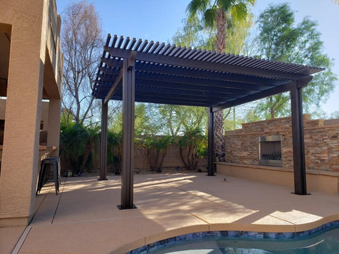 Alumawood Pergola with Modern Fireplace