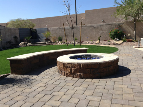 Backyard with Fire Pit and Seatwall