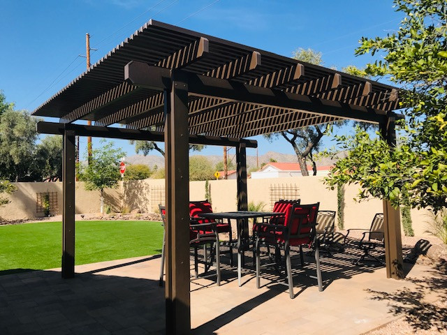 Alumawood Pergola, Pavers, and Turf