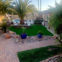 Turf, Planter Seating, Modern Pots, and Mist System