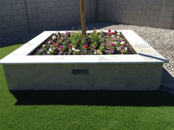 Custome Built Planters with Travertine and Lighting