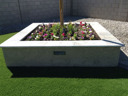 Modern Planter and Seating with Travertine and Lighting