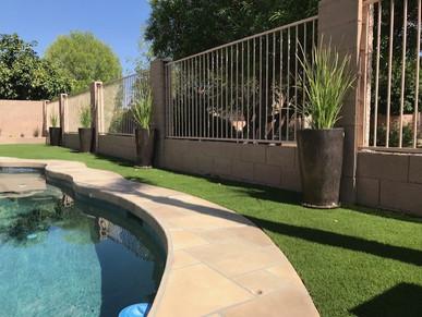 Pool Side Turf and Modern Pots