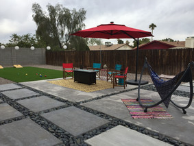 Concrete Seating with Turf Game Area