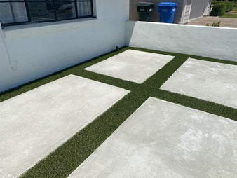 Courtyard with concrete and turf