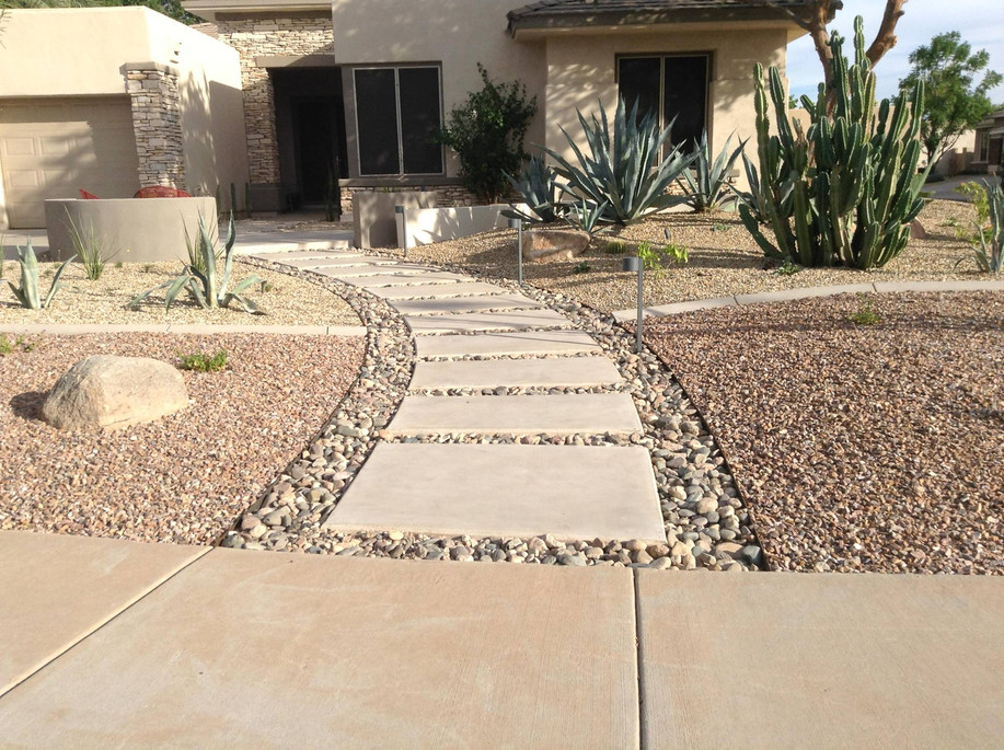 Pathway, Steel Edging, Concrete, River Rock, and 2 Tone Granite Areas