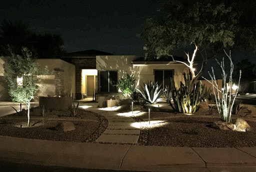 Modern Front Yard Lighting
