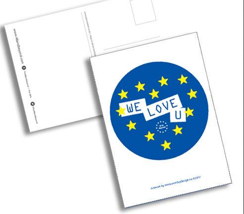 Pro EU 'We Love EU' Postcards (Pack 10 A6)