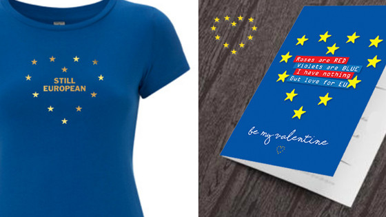 'Still European' limited edition organic t-shirt, ready for Valentines