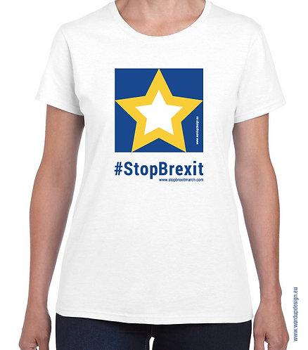 Pro EU Remain Official #StopBrexit T-shirt Womens Cotton