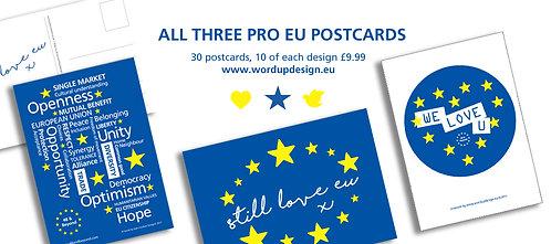 Pro EU Bumper Pack of Postcards, All Three Designs (30 or 100) A6