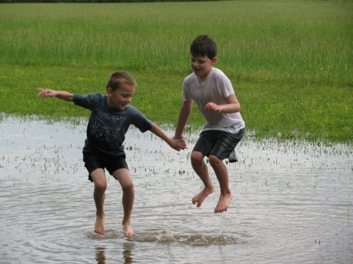 our field flooded!  Fun!