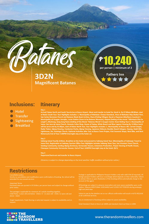 BATANES  3DAYS 2NIGHTS MAGNIFICENT PACKAGE