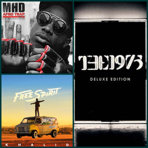 khalid free spirit, mhd afrotap and the 1975 album cover collage