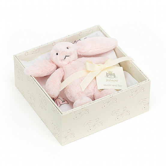 Jellycat Bashful Pink Bunny Gift Set