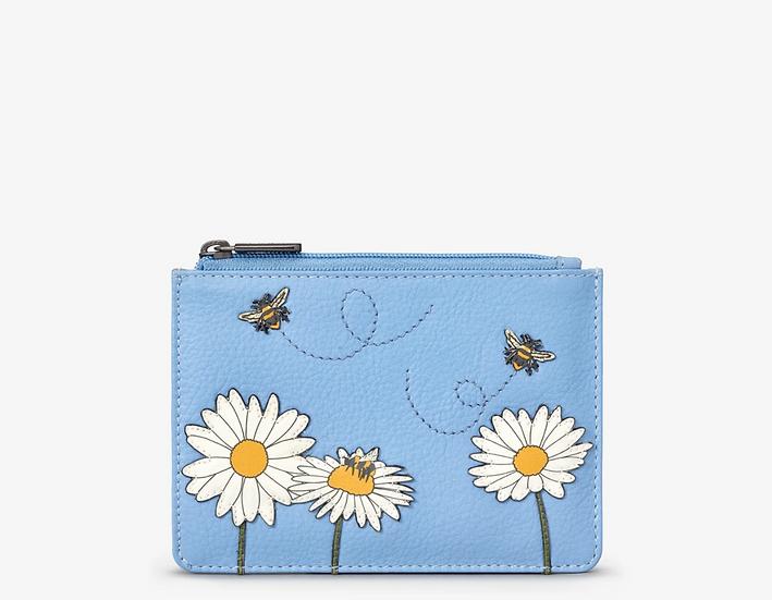 YOSHI Bee Happy Blue Leather Zip Top Purse