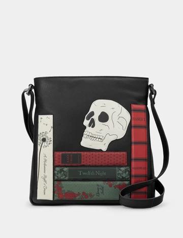 YOSHI Shakespeare Bookworm Black Leather Bryant Cross Body Bag