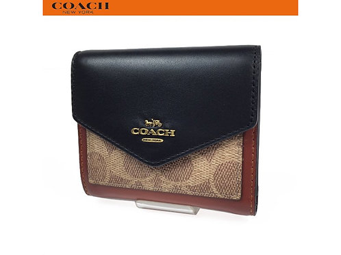 COACH コーチ レディース 財布 三つ折り財布  スモール ウォレット カラーブロック シグネチャー キャンバス 32610 タン ブラック