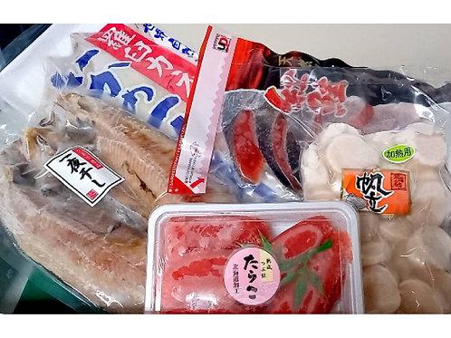 <北海道産>海の幸Cセット(ホッケ、紅鮭、イカの一夜干し、タラコ、ホタテ)