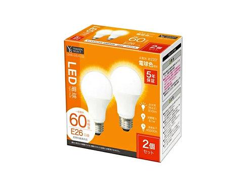 YAMADA SELECT(ヤマダセレクト) LDA8L-G/E/H1/S2 LED電球 60W 電球色 口金E26 2個入り 電球色 ×3セット