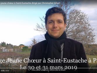 Christopher Gibert, quel est le programme pour le prochain Stage Jeune Chœur à Saint-Eustache ?