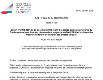 Un nouveau décret du FONPEPS en faveur de l'emploi des artistes lyriques
