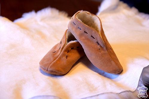 Chaussons en croûte de cuir