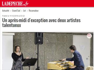 LA DÉPÊCHE : Un après-midi d'exception avec deux artistes talentueux