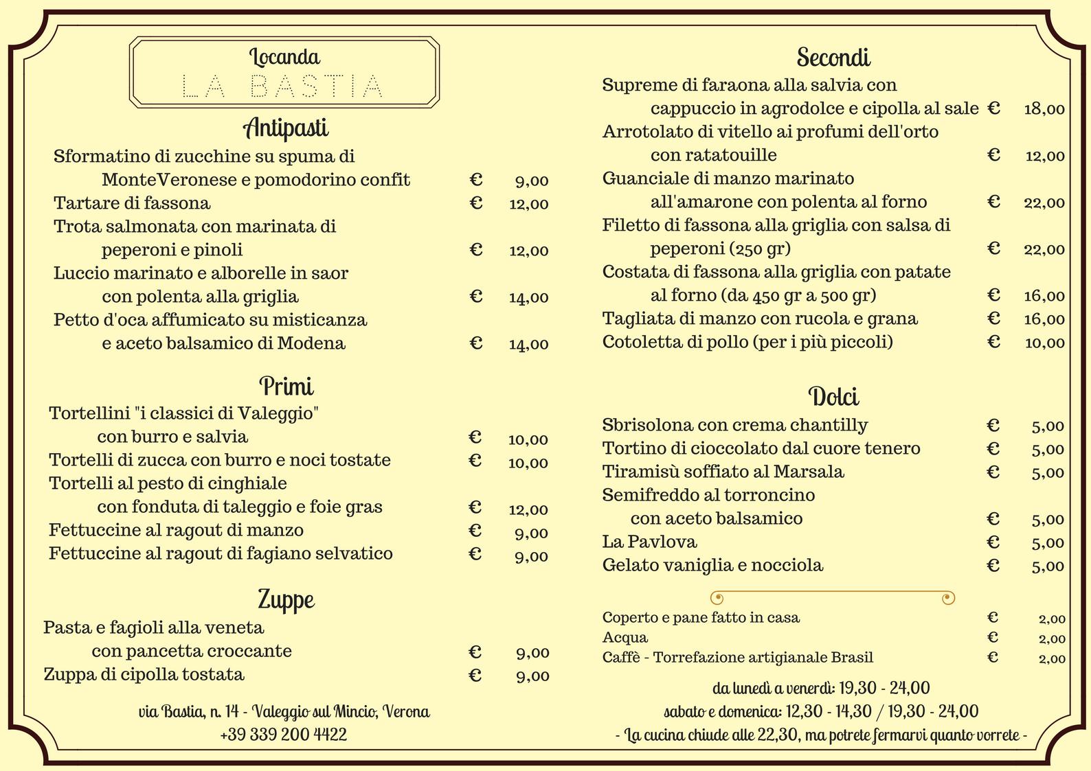 Locanda La Bastia - il Menù