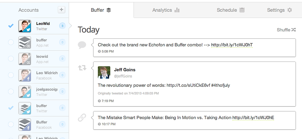 Use Buffer to schedule your content
