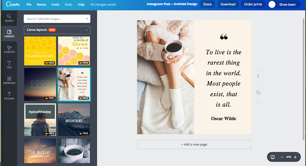 Create social media images with canva