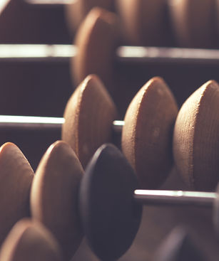Close-up macro photo of vintage abacus f