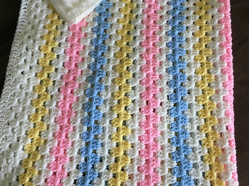 """Handmade Crochet Baby Blanket with Hat - Size is 36"""" x 48"""""""
