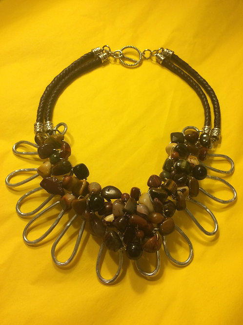 Leather and Cord Necklace - Cod.202