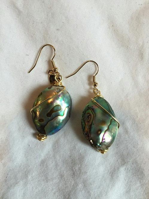 ZIG ZAG Cod. E-035: Menta y Azul Marino. Abalone, turquesa, agatas y cristales.