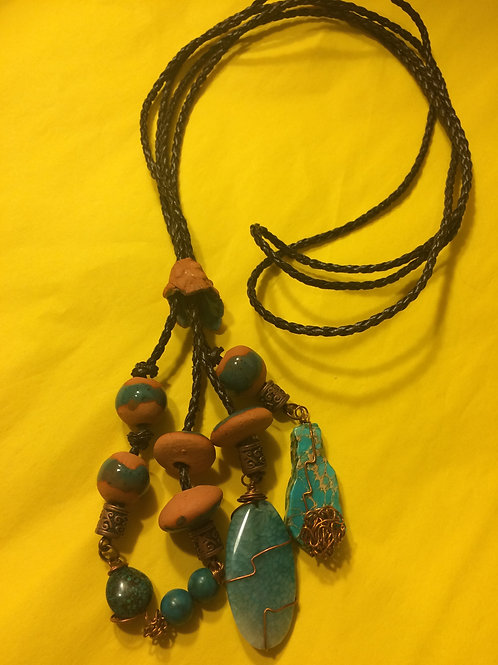 Leather and Cord Necklace - Cod.700