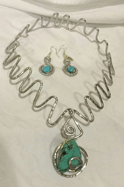 Aluminum Necklace & Earrings Set - Cod. N-111