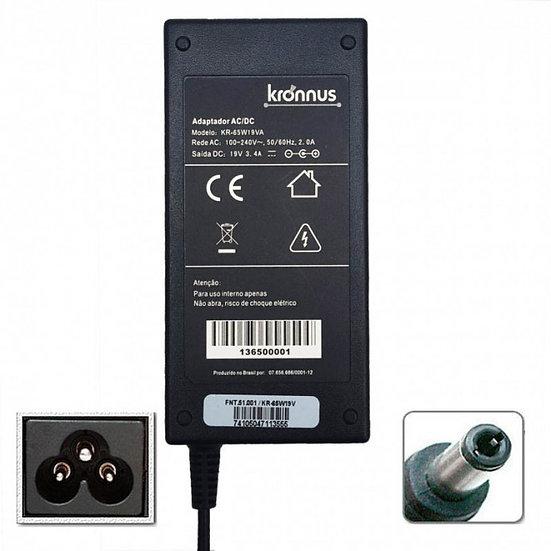 Fonte para Notebook 19V 3,42A 65W Plug 5.5x2.5mm (Kronnus)