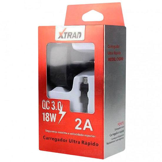 Carregador Turbo Quick Charge 3.0 C/Cabo V8 (Xtrad)
