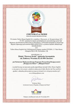 Certyfikat Dwujezyczne Dzieci