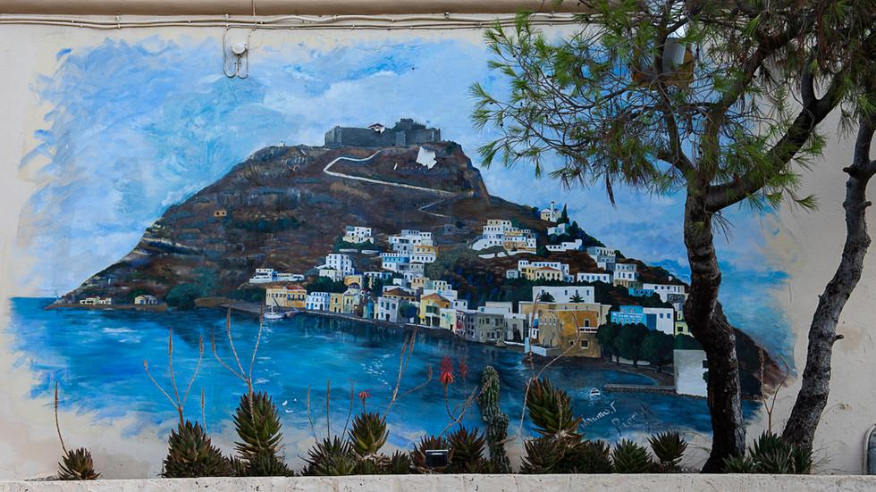 Leros island, Greece. Painting on the Military Officers' Club at Lakki (Portolago)
