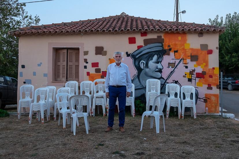 Karamanoli (Glyfada), Messinia, Greece, Preparing the open cinema projection