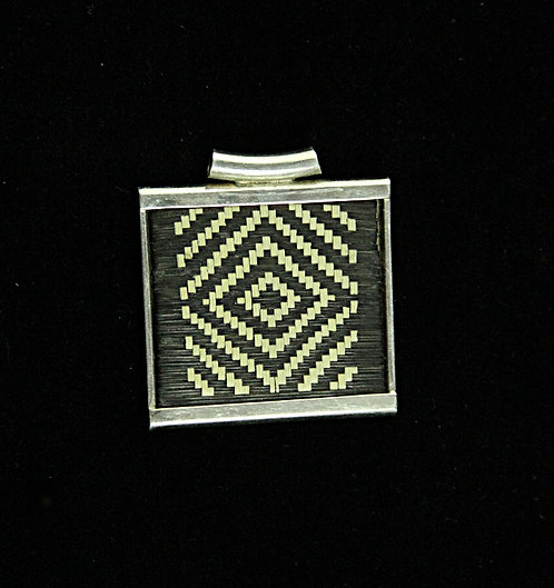 Tribal Pendant of Black & Ecru Grass Weaving in a Silver Frame