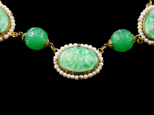 Antique Victorian Mint Green Poured Glass Necklace with Baby Freshwater Pearls