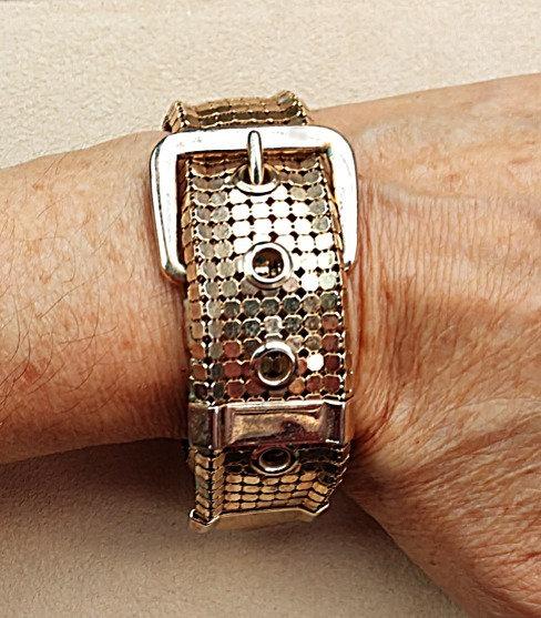 1960's Vintage Gold Mesh Buckle Bracelet