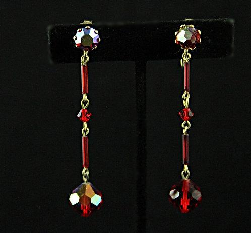 Midcentury Scarlet Red Swarovski Crystal Drop Clip-on Earrings