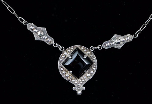 Antique Sterling Silver Marcasite & Onyx Necklace